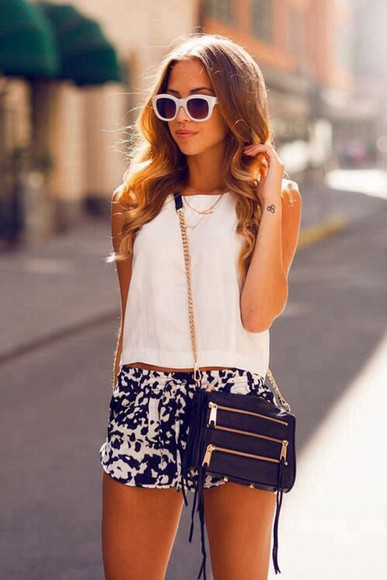 shorts blue white pattern rebecca minkoff t-shirt sunglasses bag help me find these and i really want this whole outfit can you help me find it !!! high waisted blue shorts shirt