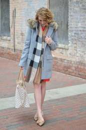 something delightful,blogger,coat,dress,scarf,jewels,shoes,winter outfits,wool coat,beige shoes,pumps,tote bag