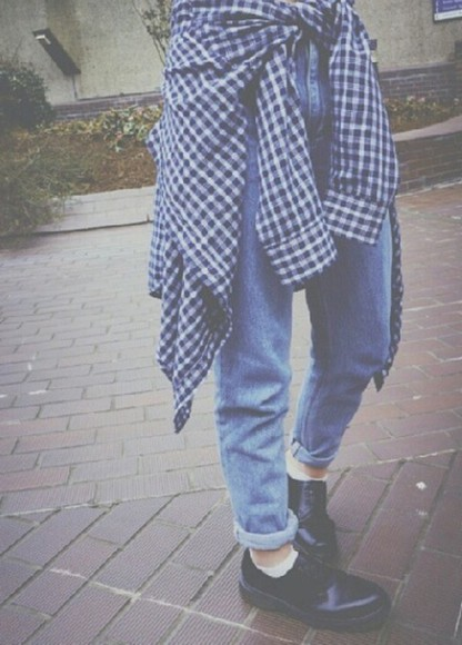 vintage jeans blue 80's 90's grunge soft grunge checked shirt indie tumblr