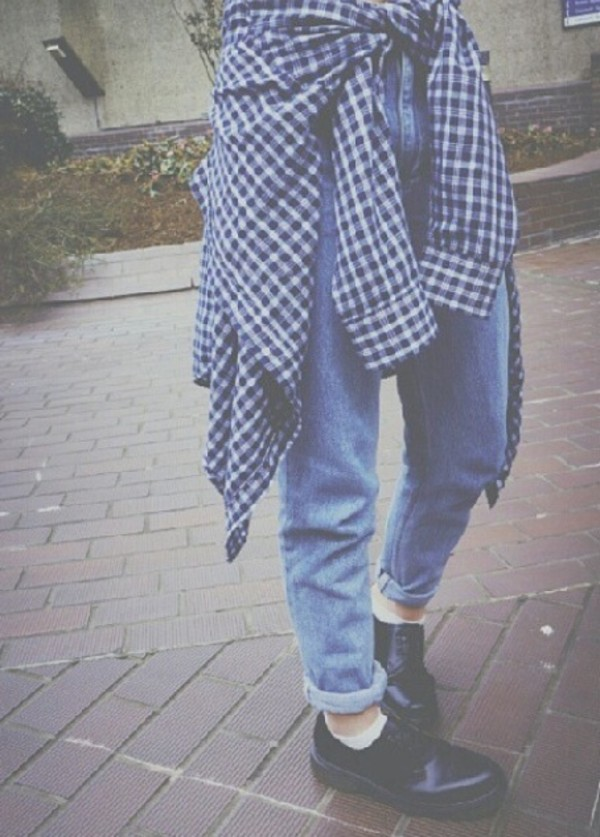 jeans blue vintage 80s style 90s style grunge soft grunge checkered shirt indie tumblr