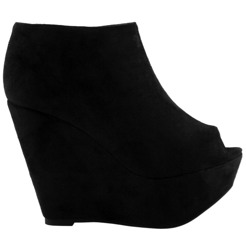 31145dd7fa2 LADIES BLACK SUEDE PEEP TOE HIGH WEDGE SHOE BOOTS SIZ ...