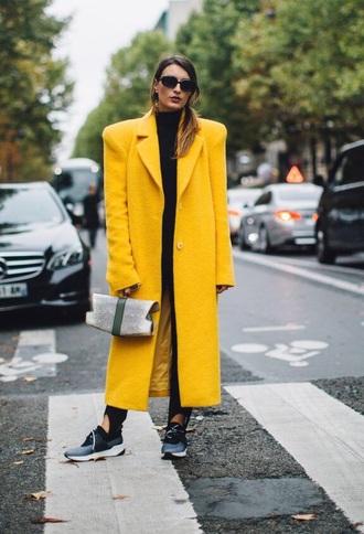 coat long coat oversized sneakers sunglasses streetstyle yellow coat yellow oversized coat