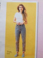 jeans,denim,topshop,joni,acid wash,jellies,shoes,white,crop,vogue,mö,mom jeans,acid wash jeans,boyfriend jeans,black jelly shoes,t-shirt,white crop tops,vogue magazine