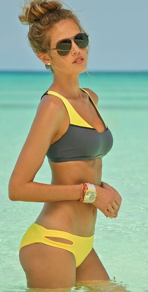 swimwear yellow swimwear gray swimwear sporty style sunglasses