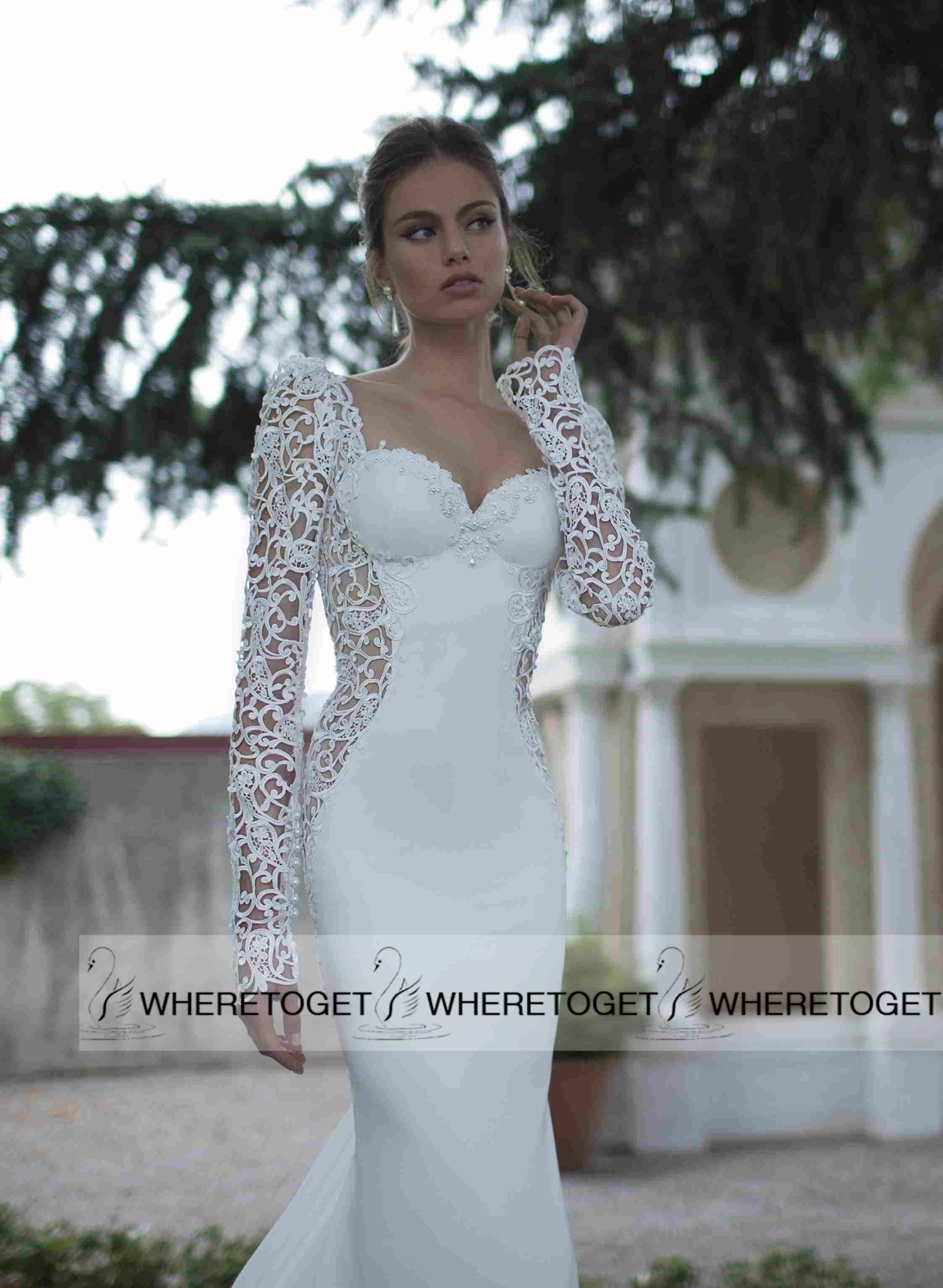 Berta Bridal Gowns 2015 Mermaid Trumpet Sweetheart Long Sleeve Wedding Dresse
