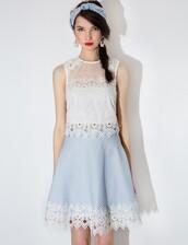 skirt,crochet skater skirt,skater skirt,light blue skirt,flare,scalloped hem,martching set,matching set,spring,summer,lace,matching separates