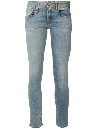 jeans skinny jeans cropped women spandex cotton blue