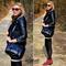 Crocodile black buckle bag, the latest street fashion