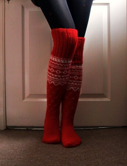 knitwear socks winter socks red socks knee high socks