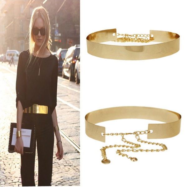 Women Gold Wide Waistband Plate Full Metal Waist Fashion Band Mirror Chains Belt