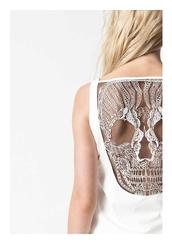 t-shirt,skiull back,white,skull,skull lace,open back,bag