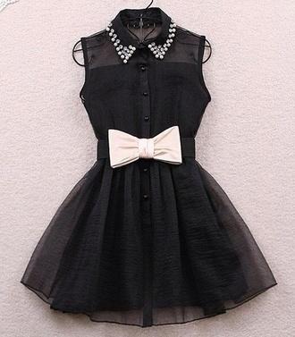 black pretty skater dress bow dress collar