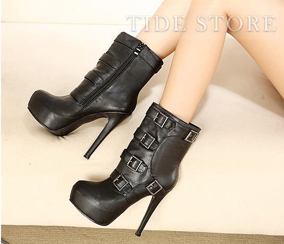 New Arrival Euramerican Buckles Zipper Black Stiletto Heel Platform Boots: tidestore.com