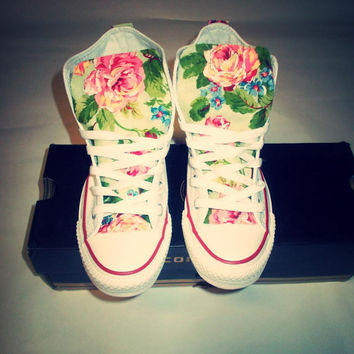 NEW YEARS SALE!!! Spring Floral Converse Shoes on Wanelo