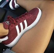 shoes,adidas,adidas shoes,burgundy,burgundy shoes,sneakers
