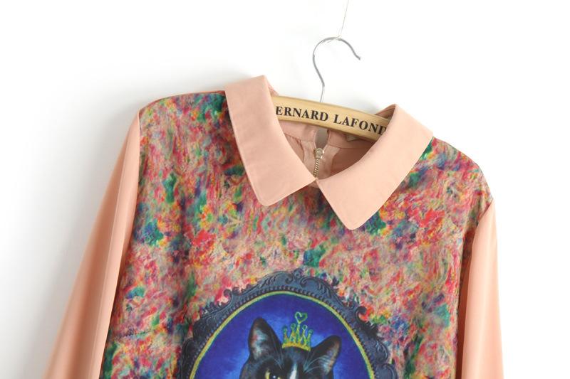 Pink Long Sleeve Cat Queen Print Straight Dress - Sheinside.com