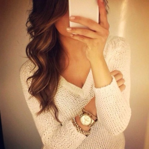 watch white gold white sweater sweater accessoires romaines