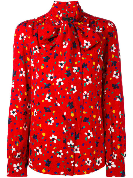 Marc Jacobs blouse women floral print silk red top