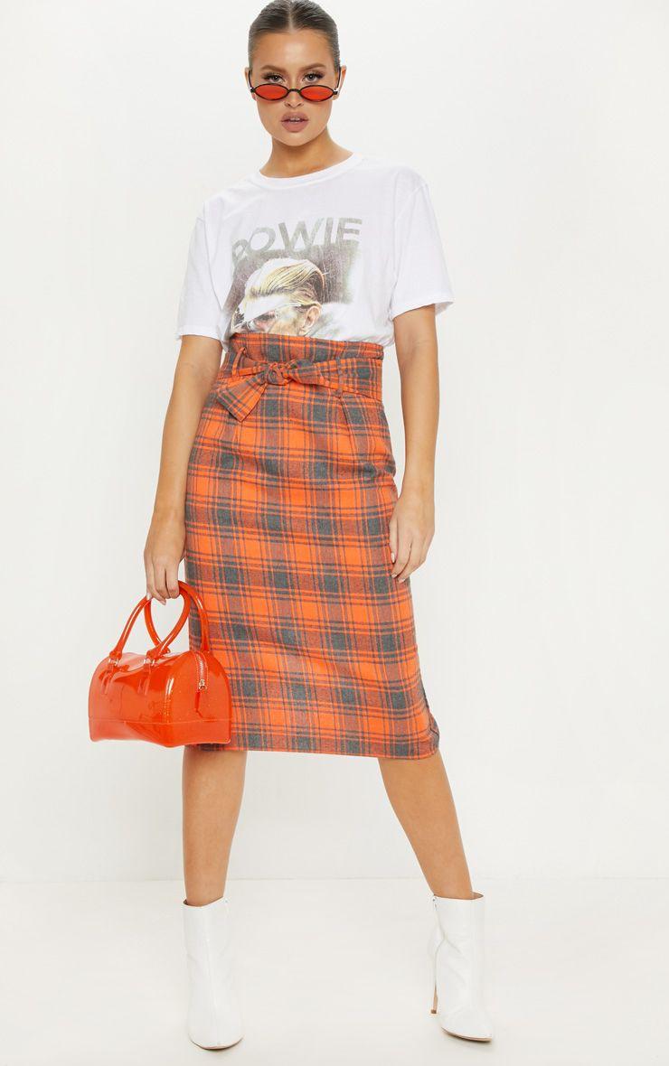 Orange Check High Waisted Midi Skirt
