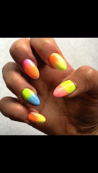 rainbow colourful nail polish acrylic nails