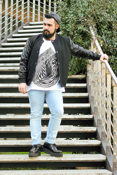 guy overboard blogger jacket t-shirt jeans shoes