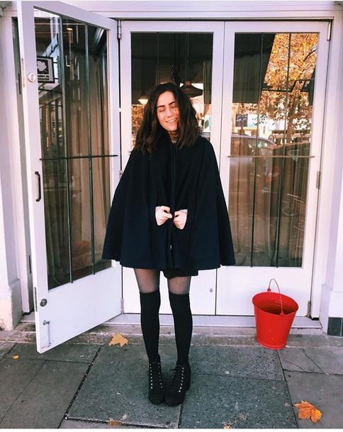 coat cloak black dodie doddleoddle