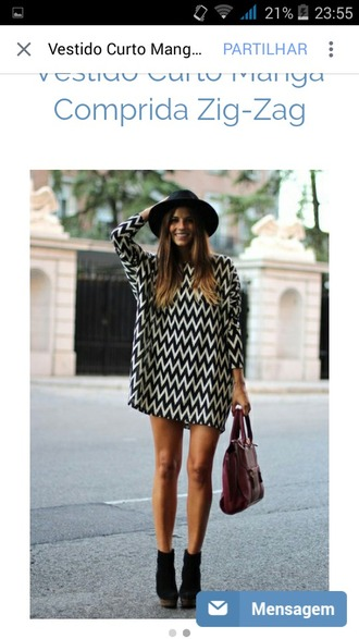 dress black and white long sleeve dress zig zag print