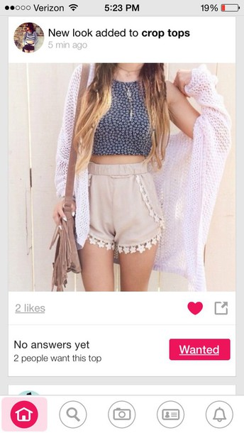 shorts crop tops cardigan