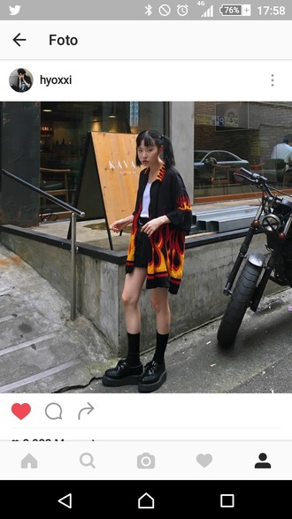 cardigan flames fire red black yellow cool grunge badass tumblr alternative ghetto soft grunge jacket korean fashion south korea