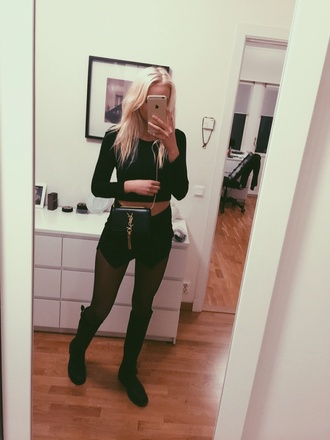 blogger blonde hair iphone 6 selfie style stylish ysl top bag swedish leggings