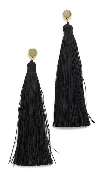 tassel earrings gold black jewels