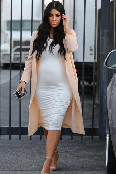 cc8b43745db9 dress bodycon dress white white dress midi dress kim kardashian coat summer  dress maternity