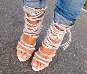 shoes heels pumps rope lace up heels