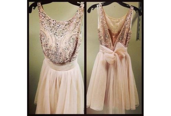 prom dress homecoming dress tulle beading elegant beaded gowns champagne neckline jewels v-back formal dress