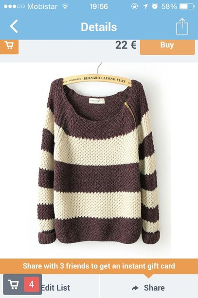 sweater tripes brown cream zips big sweater