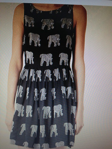 elephant topshop dress elephantdress black white soldout