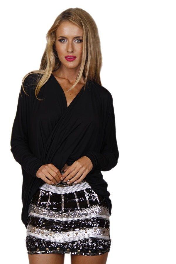 top black top soft knit top twist top twist and turn top www.ustrendy.com