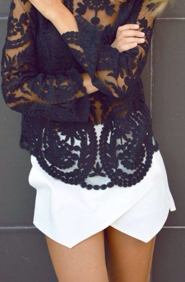 shirt black top lace floral summer summer outfits white skorts white skort blouse skirt shorts blue blouse lace blouses white skirt white dress boho lace top