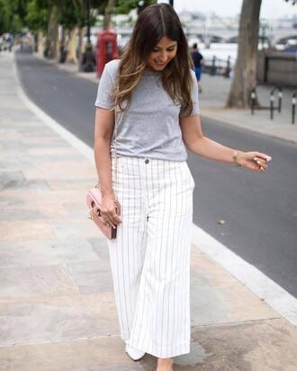 pants tumblr wide-leg pants white pants stripes striped pants t-shirt grey t-shirt bag pink bag