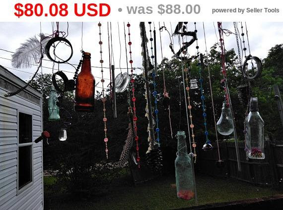 JUNETEENTH SALE PRICES Finding treasure* giant glass bottles windchime/suncatcher wall hanging boho gypsy upcycle junk natural wood wire ...