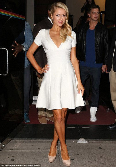 paris hilton dress white dress