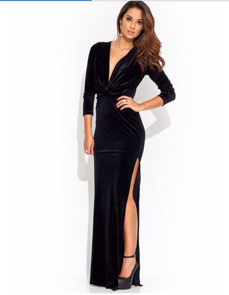 dress black prom formal slit maxi