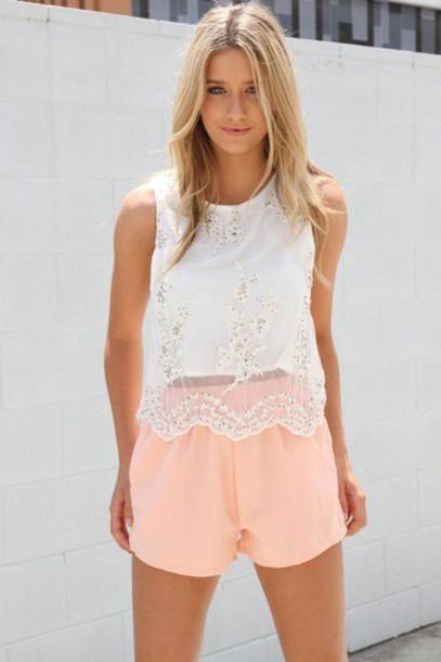 shorts apricot bright sweet shirt