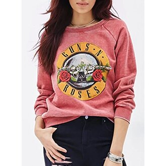 sweater guns and roses vintage band t-shirt 90s style grunge rose wholesale thanksgiving