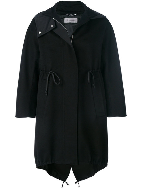 coat women drawstring black wool