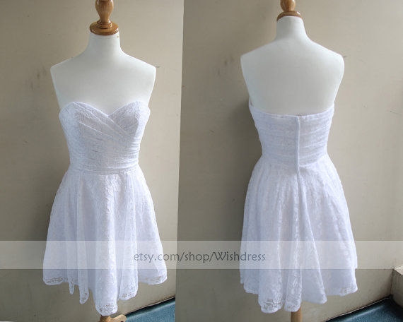 Handmade Sweetheart Lace Short Bridesmaid Dress/ by Wishdress