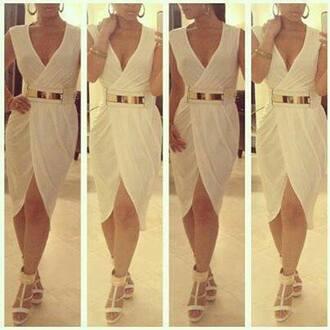 belt waist belt dress white dress gold belt sheer white sexy wrap around wrap dress