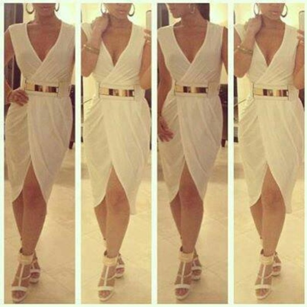 belt waist belt dress white dress gold belt sheer white sexy wrap around wrap dress