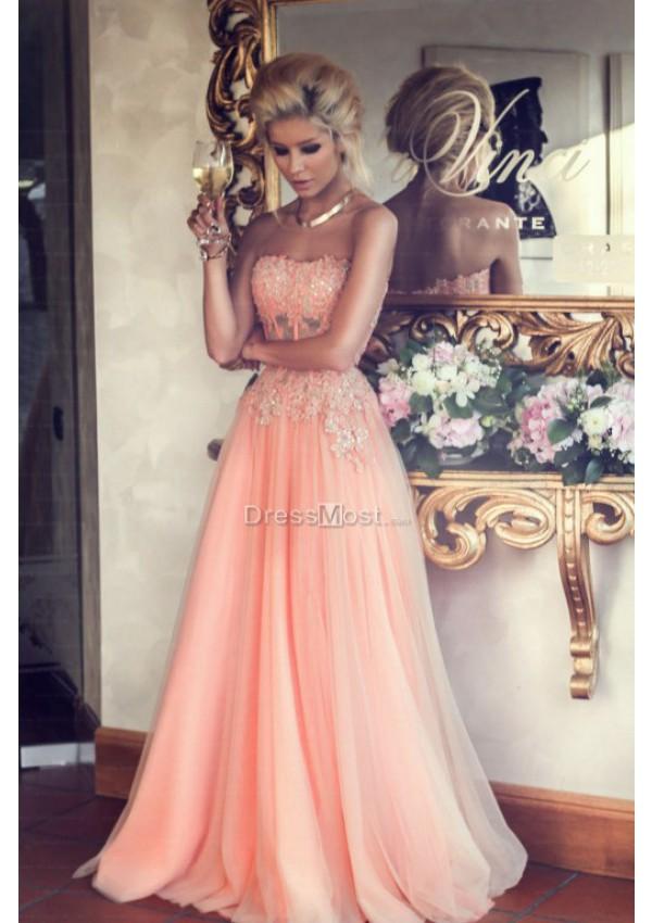 Charming pink organza applique sleeveless evening dress