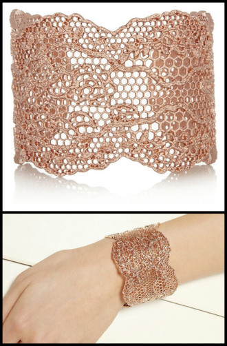 jewels fine jewelery lace cuff rose gold gorgeus jewelery piece iwantthis
